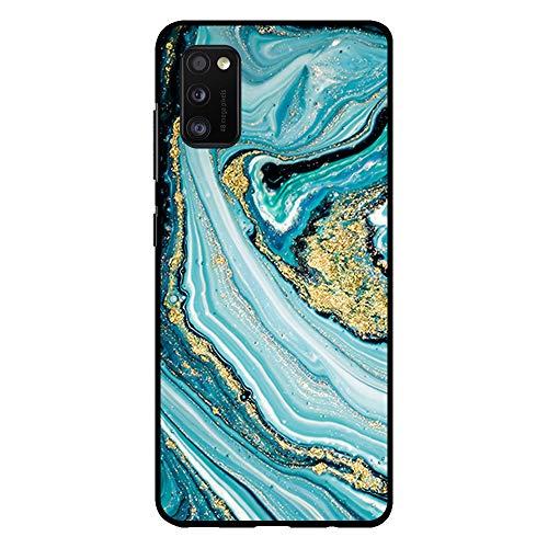 BJJ SHOP Schwarz Hülle für [ Samsung Galaxy A41 ], Klar Flexible Silikonhülle, Design: Abstrakte Blau und Goldtöne