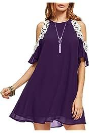 9b2d46488e3 Aofur Summer Chiffon Lace Dress Ladies 2018 Cold Sleeve Casual Plus Size  S-XXXXL Sundress
