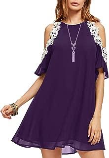 Aofur Summer Chiffon Lace Dress Ladies 2018 Cold Sleeve Casual Plus Size S-XXXXL Sundress Women Solid Elegant Party Dress