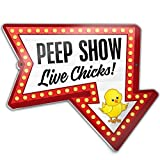 Bigtime Signs Metal Funny Chicken Coop Sign - Peep Show Live Chicks Thick Plaque - Fun Outdoor Chicken Accessories - (Chicken Lover Gift)