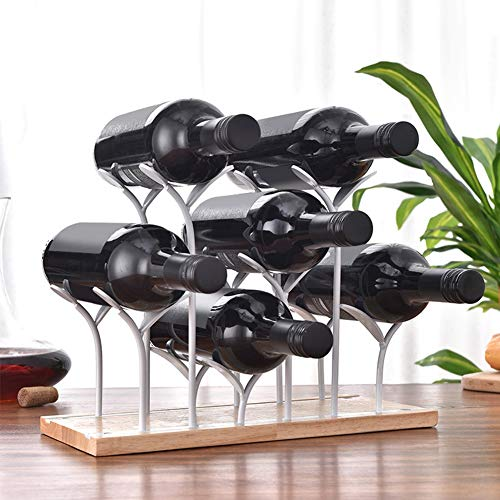 Organisateur de vin, porte-vin élégant, support de bureau 6 bouteilles solide et durable pour les barres de familles de comptoirs de cuisine(white)