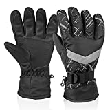 HUO ZAO Winter Snow Ski Gloves for Men Boys Outdoor Cycling Snowboarding Camping Black