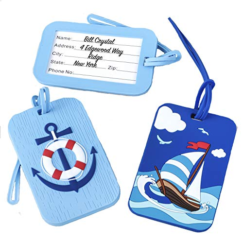 Nautical Anchor and Sail Boat Luggage Tags - Set of Two