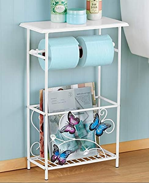 Butterfly Bath Bathroom Toilet Paper Holder Rack Table Magazine Organizer