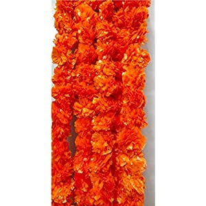 Marigold Flower Garlands Artificial Dark Orange Garlands 5 Feet Long, for Parties, Indian Weddings, Indian Theme Decorations, Home Decoration, Photo Prop, Diwali, Indian Festival Pack of 5