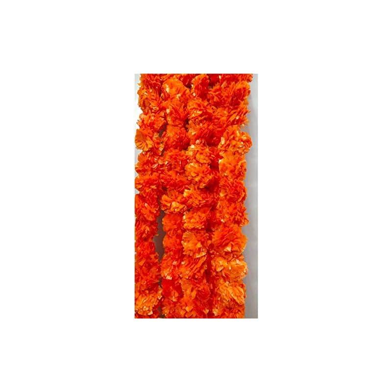silk flower arrangements artificial dark orange garlands 5 feet long, marigold flower garlands for parties, indian weddings, indian theme decorations, home decoration, photo prop, diwali, indian festival pack of 5