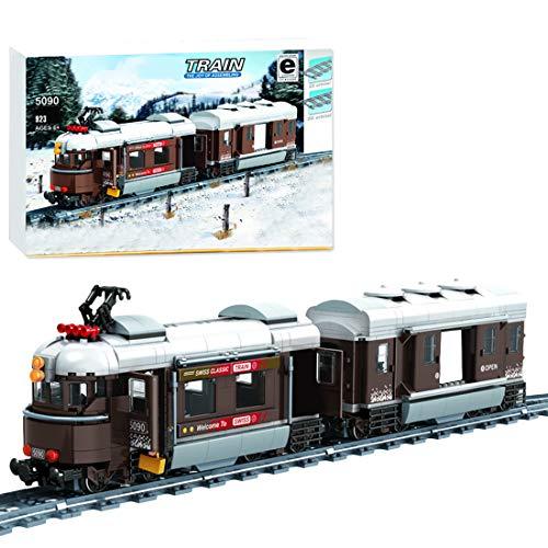 OATop 923 Teile City Personenzug Baustein Modell, City Zug mit Schienen Bauset Kompatibel mit City