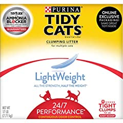 One (1) 17 lb. Box - Purina Tidy Cats Light Weight, Low Dust, Clumping Cat Litter, LightWeight 24/7 Performance Multi Cat Litter Low Dust for a Clean, Easy Pour Prevents ammonia odor from forming for two weeks when used as directed Lightweight formul...