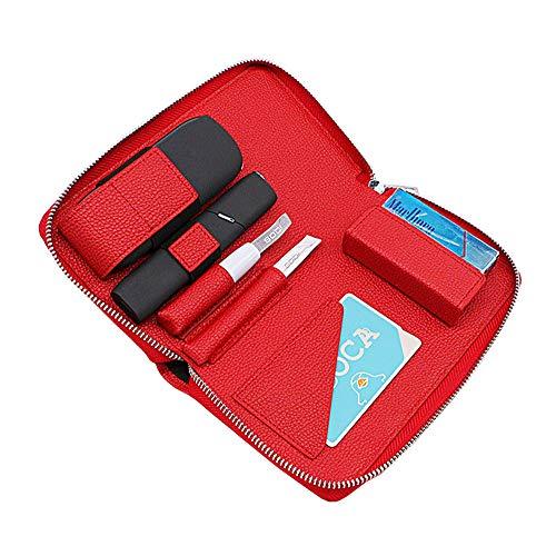 アイコス3 アイコス3マルチ ケース 両方入る 新型 IQOS3 IQOS3MULTI 専用ケース レザー サイフ型 革 カード入れ 本体 ヒートスティック 全部収納 ホルダー IQOS3&IQOS3MULTI 兼用 多機能ケース (レッド)