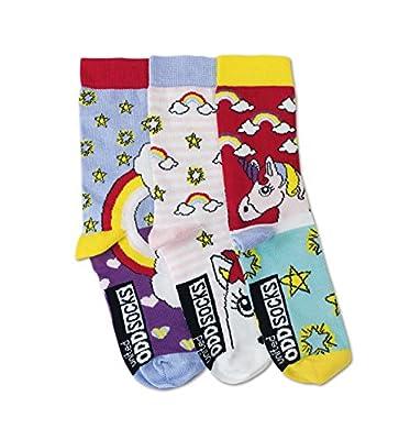 United Oddsocks - Unicorn/Unicornio - Niña - Talla 30 - 38 - 3 Calcetines = 3 Combinaciones