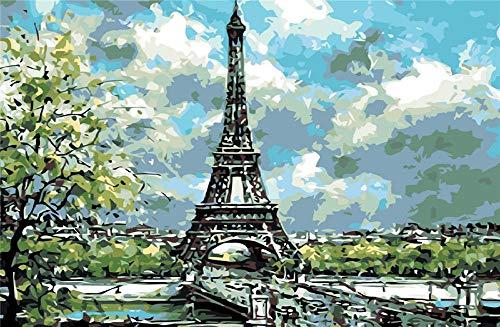 Yqgdss Pintura Al Óleo Torre Eiffel Edificio Rompecabezas con Imágenes 1500 Piezas Juguetes Educativos Divertidos para Adultos Juegos para Niños Amigo Familiar Adecuado