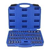 Akozon Jeu de douilles Torx 60pcs acier inviolable Kit d'outils Torx Star Socket Bits 1/4'3/8' 1/2'Drive
