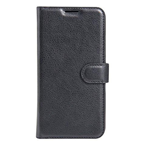 Liluyao Fundas para teléfono móvil For Wiko U Feel Go Litchi Textura Horizontal Flip Funda de Cuero con Soporte y Ranuras for Tarjetas y Billetera Estuches para teléfonos celulares (Color : Black)