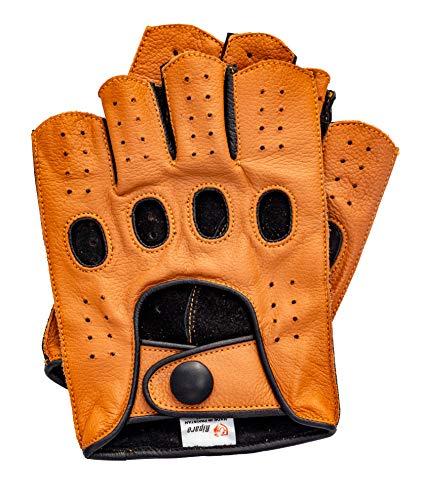 Riparo Guantes de piel para hombre con costura inversa y medio dedo, para conducción de motocicleta (mediano, coñac/negro)