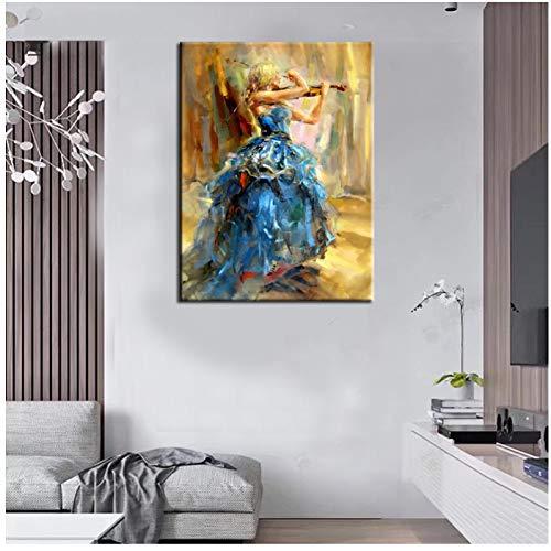 Mooie dame spelen viool figuur modern schilderij muurkunst afbeelding op canvas voor de woonkamer wooncultuur afbeelding 60x100 cm geen lijst