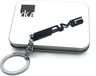 YIKA Key Chain AMG Mercedes Benz Key Chain AMG 3D Logo Stainless Keychain Keyring (Black)