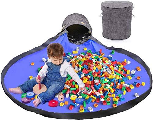 Kinder Aufräumsack mit Drawstring Spielzeug Aufbewahrungsbox mit Deckel Tragegriff, Baby Spieldecke Kinderspielzeug Aufbewahrungsbeutel für Kinderzimmer Outdoor Picknick-Grau (Blau)