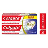 Colgate Total Whitening Dentifricio, Protegge dai Batteri, 2 x 150 ml