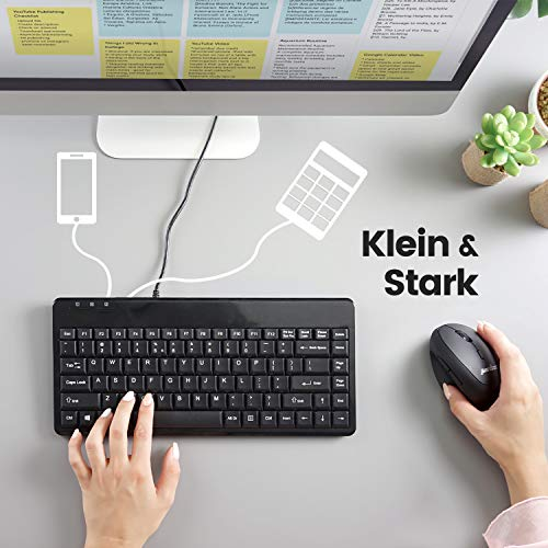 Perixx PERIBOARD-409 H, Mini Tastatur mit 2x USB Hubs - 1,80 Meter Kabel mit USB Stecker - Klavierlack - QWERTZ DE Layout - Schwarz