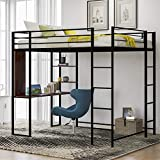 Loft Bed with Desk , Metal Loft Bed Full Size with 2 Shelves and 2 Build-in ladders ,Space Saving Design, High Loft Bed for Kids and Teens (Full Size , Black)
