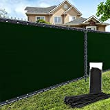 AofeiGa 6'×50' Privacy Fence Screen Windscreen Heavy Duty Fence Shade Net Cover for Outdoor Yard Wall Garden Backyard 180 GSM (Green)
