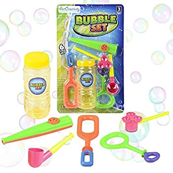 ArtCreativity 6-Piece Bubble Toys Set for Kids Bubble Blowing Play Set with 5 Assorted Wands and Bubble Solution Outdoor Toys for Boys Girls Summer and Backyard Fun Bubble Toy Gifts for Children