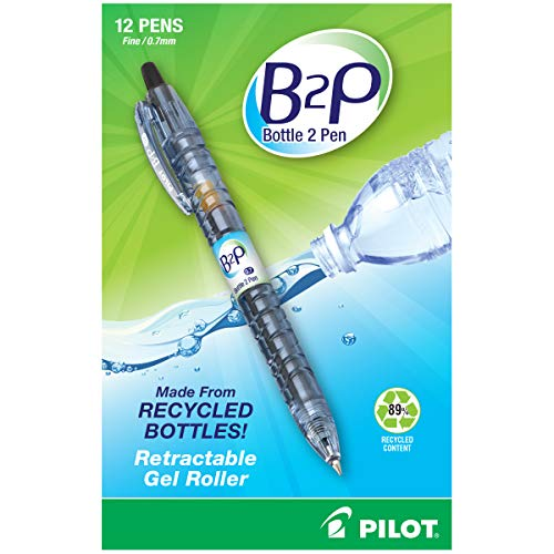 PILOT B2P - Bottle to Pen Refillable & Retractable Rolling Ball Gel Pen Made From Recycled Bottles, Fine Point, Black G2 Ink, 12 Count (31600)