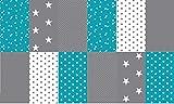 Stoffpaket Patchwork Baumwollstoffe 12 x (25x35cm) türkis