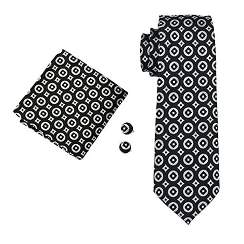 ZAIZAI Juego de corbatas para hombre, de seda, color negro, para bodas, fiestas, negocios (color: negro, tamaño: talla única)