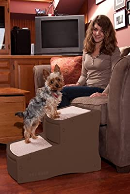 Pet Gear Easy Step II Pet Stairs, 2 Step for Cats/Dogs up to 150 Pounds, Portable, Removable Washable Carpet Tread, 2-Step, Chocolate