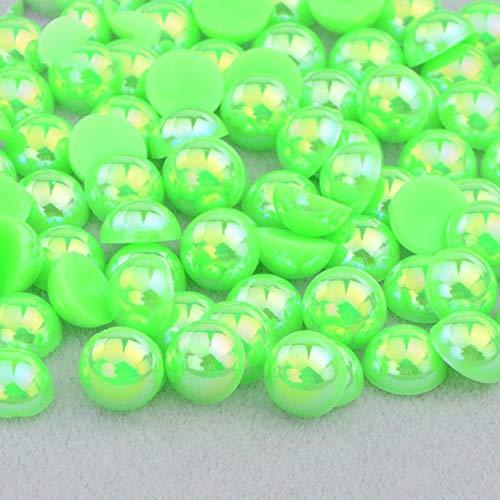2 4 6 8 10 12 14mm Demi-Ronde Imitation Perle Noir AB Strass Perle Colle Sur Nail Art Décoration Dos Plat Perle Autocollant, Vert AB, 12mm 50 Pcs