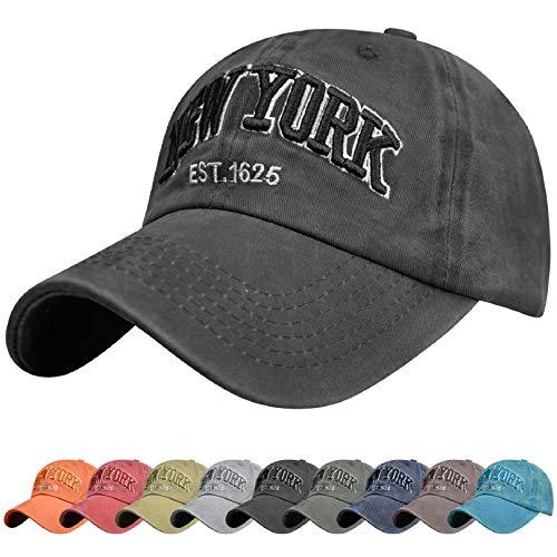 Voqeen Gorra de Beisbol Sombrero de Gorra Ajustable con Bordado New York Gorra de Vintage Algodón de Verano al Aire Libre Cap para Hombres Mujeres (Negro)