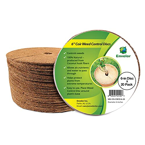 Envelor Coco Coir Mulch Ring 6 Inches - 20 Pack Coco Fiber Disc Plant Cover Weed Control Fabric...