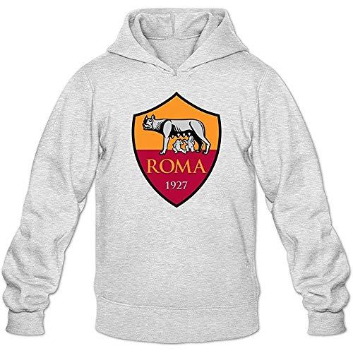Eduardo Marin Men's As Roma Football Club Logo Lover Hoodie Sweatshirt Light Grey