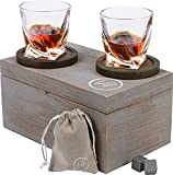 Vif Whiskey Glass Set of 2-6 Bourbon Whiskey Stones Set Whisky Rocks - Two 10 oz. Lead-Free Crystal Scotch Glasses Gift Set of 2-2 Oak Coasters, Wooden Gift Box, Whisky Gift Set for Men and Women