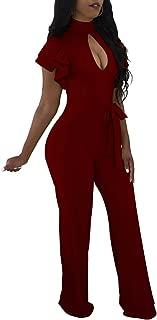 Women Elegant Turtleneck Jumpsuit Long Sleeve Long Pants Club Outfits Denim Rompers with Pockets Slim Fit