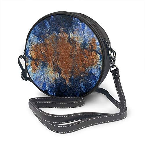 Textuur Blauwe Pleister Kaleidoscope Ronde Schoudertas Lederen Messenger Bag Vintage Crossbody Verstelbare Schouderband Voor Vrouwen Gepersonaliseerd