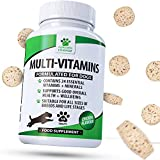 Daily Multivitamin Supplement for Dogs - 120 Chewable Chicken Flavour Tablets – 24 Nutrients, Vitamins & Minerals - Helps with Brain, Heart, Eyes, Kidneys, Liver, Joint Function • Furever Friendz