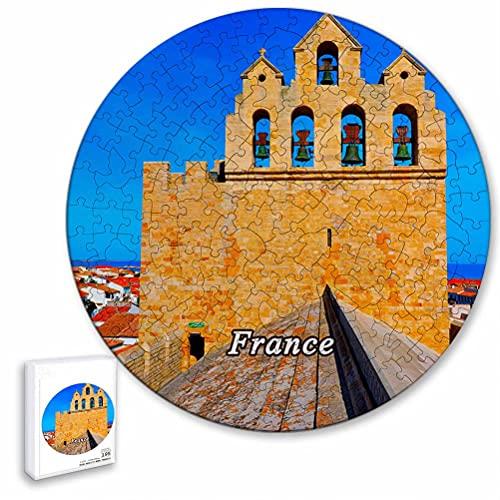 Francia Saintes-Maries-De-La-Mer Rompecabezas de 195 Piezas con Forma Redonda de Animales de Madera para niños y Adultos, Recuerdos de 16.5 × 16.5 Pulgadas
