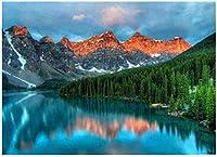 クロスステッチ キット山の湖の木40x50cm DIYクロスステッチキット刺繍初心者向けホームデコレーション(11CTプレプリントキャンバス刺繍キット 手作り