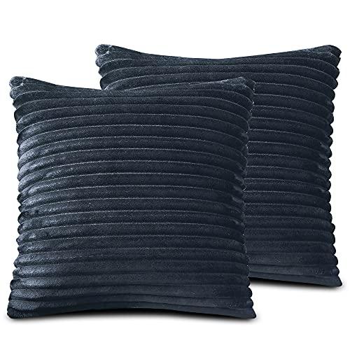 FARFALLAROSSA Örngott av mikrofiber med dragkedja, mörkblå (2-pack) 40 x 40 cm, fyrkantiga örngott för soffkuddar, lämpliga för alla årstider, enfärgade