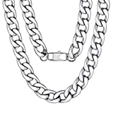 Mens Stainless Steel Necklace Large Heavy Silver Color 15MM 18inches Curb Chain Link Necklace Rapper Jewelry