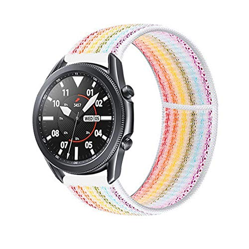 LAAGFC 20 22mm Watch Band for Gear S3 Frontier Strap Galaxy Watch 3 45mm 41mm 46 Active 2 44mm 40mm Nylon para Huawei Watch GT2E / 2 Strap 42 (Band Color : Seven Color 19, Band Width : 22mm)