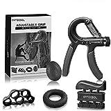 arteesol Hand Grip Strengthener Forearm Trainer Kit 5Pack,Adjustable Hand Gripper(11-132lbs)&Resisitance Finger Exerciser&Grip Ring&Finger