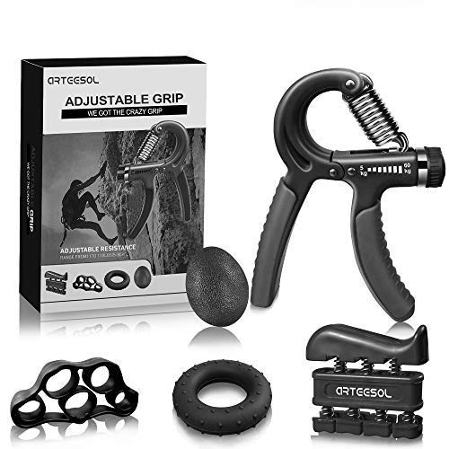 arteesol Hand Grip Strengthener Forearm Trainer Kit 5Pack,Adjustable Hand Gripper(11-132lbs)&Resisitance Finger Exerciser&Grip Ring&Finger Stretcher&Hand Therapy Ball for Athletes (Dark Black)