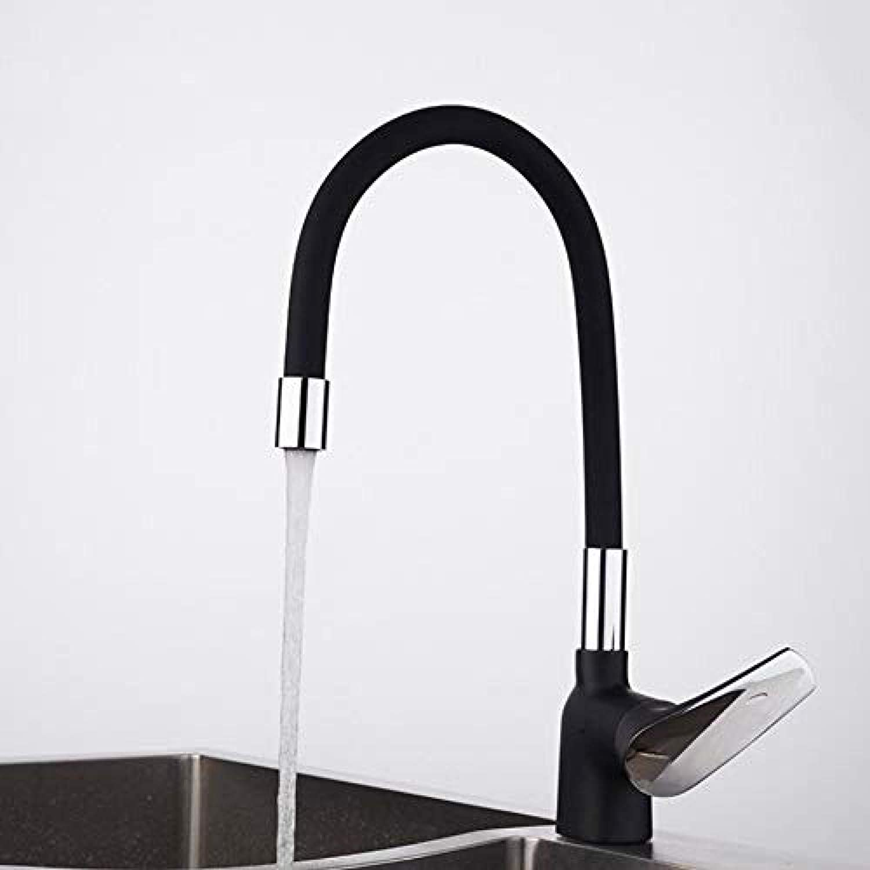 Küchenmischer Business Style schwarz Silica Gel Nase in jede Richtung Küchenarmatur Wasserhahn Kalt- und Heiwassermischer