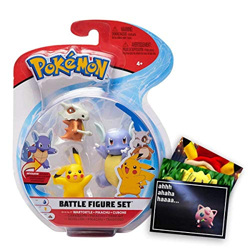 Lively Moments Pokemon Battle Pack 3er Figuren Set Schillok, Pikachu & Tragosso und Exklusive GRATIS Grußkarte