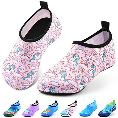 Sunnywoo Water Shoes for Kids Girls Boys,Toddler Kids Swim Water Shoes Quick Dry Non-Slip Water Skin Barefoot Sports Shoes AquaSocks for Beach Outdoor Sports,4-5 Toddler,Unicorn-b