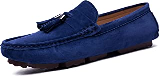 QinMei Zhou Men's Drive Loafers for Casual Suede British Tassel Fashion Breathable Boat Moccasins (Color : Blue, Size : 6 UK)