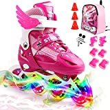 ZALALOVA Kids Adjustable Inline Skates, Safe and Durable Roller Skates for Girls